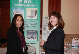 Judy Shapiro, Sales and Marketing representative and IPC President, Kathy Wyrofsky display products manufactured by company.